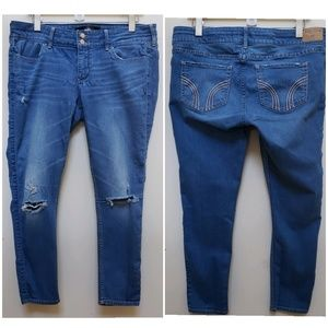 Hollister Distressed Skinny Crop Jeans Size 15/32